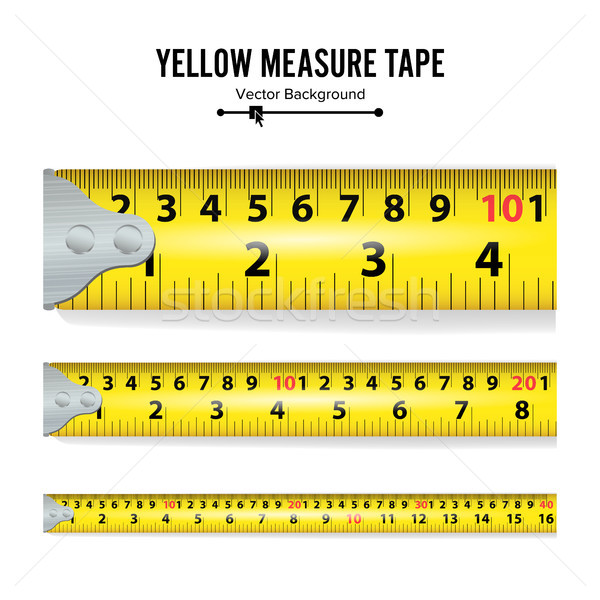 Yellow Measure Tape Vector. Measure Tool Equipment In Centimeters. Several Variants, Proportional Sc Stock photo © pikepicture