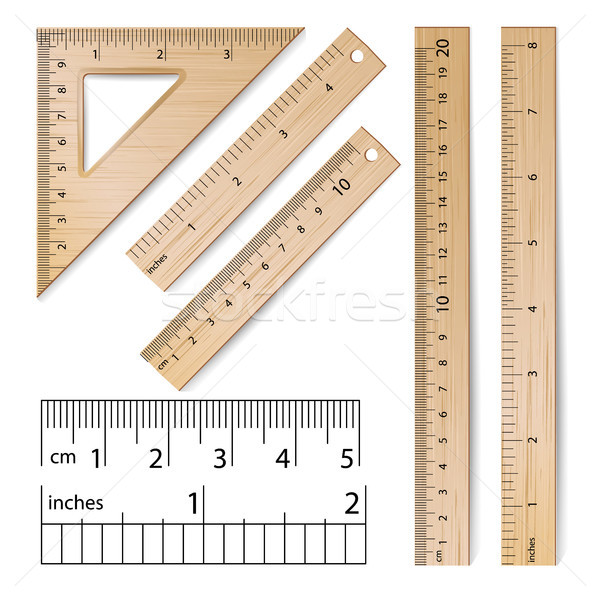 School Rulers Vector. Realistic Classic Wooden Metric Imperial Ruler. Centimeter And Inch. Measure T Stock photo © pikepicture