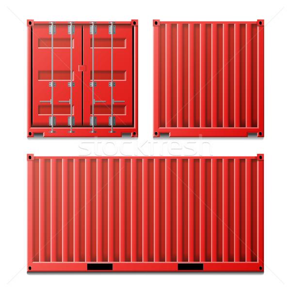 Czerwony ładunku pojemnik wektora klasyczny wysyłki Zdjęcia stock © pikepicture