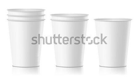 Realistic Paper Cup Vector. Cafe Latte, Mocha, Cappuccino Cup Mock Up. Isolated Illustration Stock photo © pikepicture