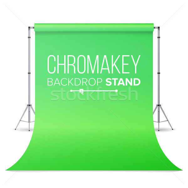 Realistic Hromakey Vector. Green Paper Backdrop. Isolated Illustration. Stock photo © pikepicture