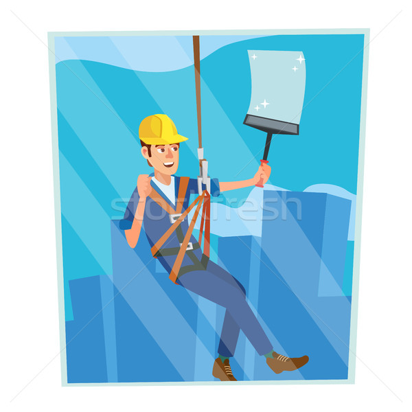 Windows Cleaning Worker Vector. Professional Worker Cleaning Windows. Modern Skyscraper. High Risk W Stock photo © pikepicture