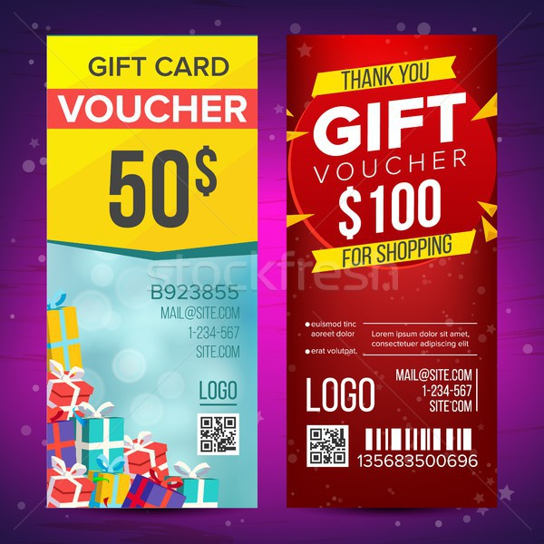 Voucher Vector. Vertical Banner. Banner, Calling Card, Poster. End Of The Year Advertisement. Cute G Stock photo © pikepicture