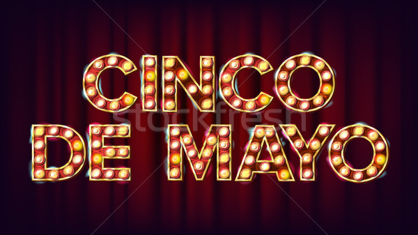 Cinco De Mayo Poster Vector. Carnival Glowing Lamps. For Night Party Poster Design. Vintage Illustra Stock photo © pikepicture