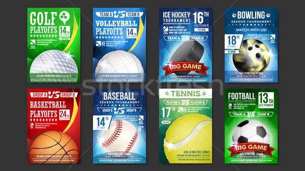 Sport Posters Set Vector. Golf, Baseball, Ice Hockey, Bowling, Basketball, Tennis, Soccer, Football. Stock photo © pikepicture