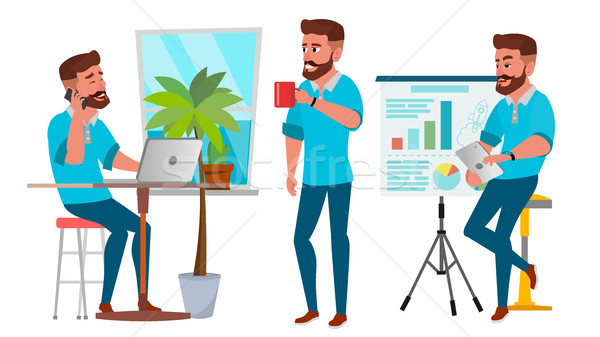 Business Man Character Vector. Working Boy, Man. Environment Process In Start Up Office, Studio. Cas Stock photo © pikepicture