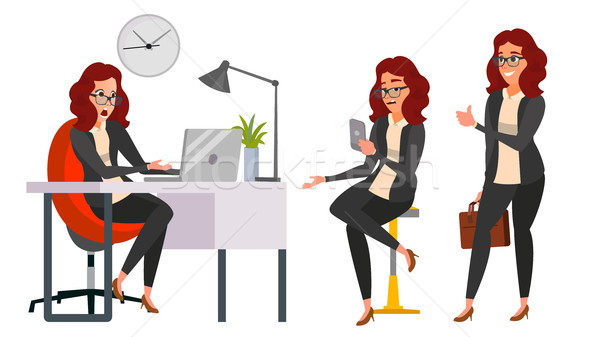 Business Woman Character Vector. Working Girl. Environment Process Creative Studio. Work Situations  Stock photo © pikepicture