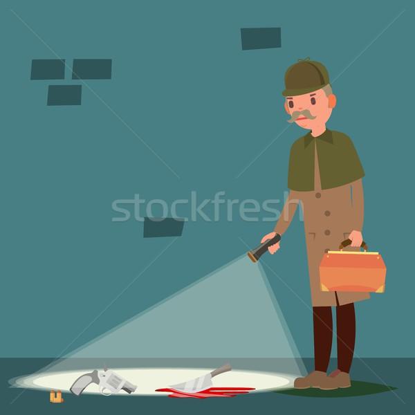 Bűnügyi helyszín vektor rajz illusztráció nyomozó kéz Stock fotó © pikepicture