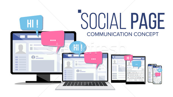 Social Page On Computer Monitor, Laptop, Tablet, Mobile Phone Vector. Electronic Gadget. Speech Bubb Stock photo © pikepicture