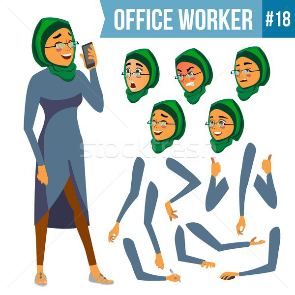 Office Worker Vector. Woman. Smiling Servant, Officer. Businessman Human. Lady Face Emotions, Variou Stock photo © pikepicture
