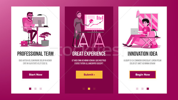 Web Page Banners Design Vector. Business Graphic. Future Energy Project. Cartoon Team. Increase Expe Stock photo © pikepicture