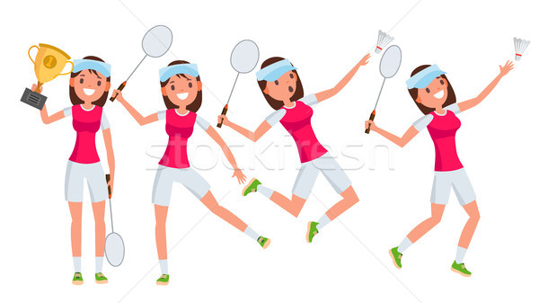Badminton Young Woman Player Vector. Girl Athlete Player. Jumping, Practicing. Flat Cartoon Illustra Stock photo © pikepicture