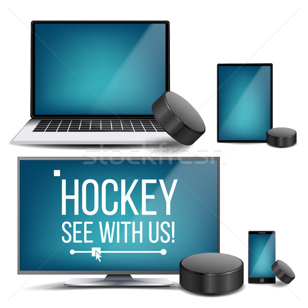 Hockey Application Vector. Hockey Puck. Online Stream, Bookmaker, Sport Game App. Banner Design Elem Stock photo © pikepicture