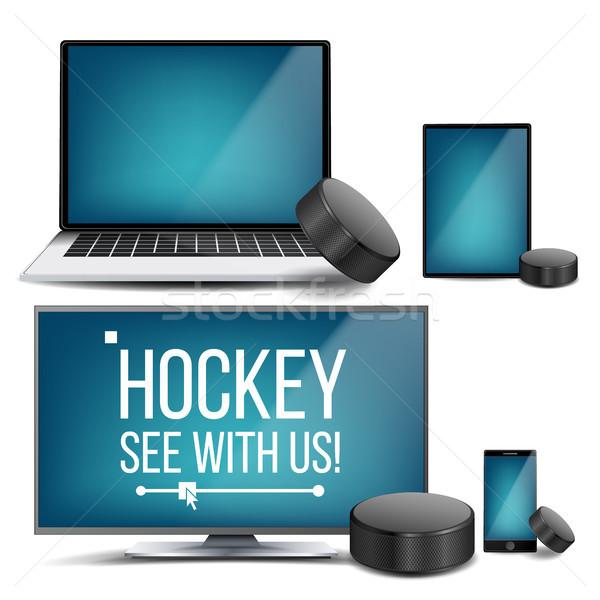 Hockey applicazione vettore online stream sport Foto d'archivio © pikepicture