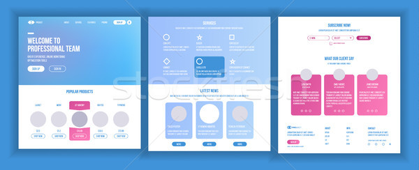 Website Template Vector. Page Business Interface. Landing Web Page. Responsive Ux Design. Opportunit Stock photo © pikepicture