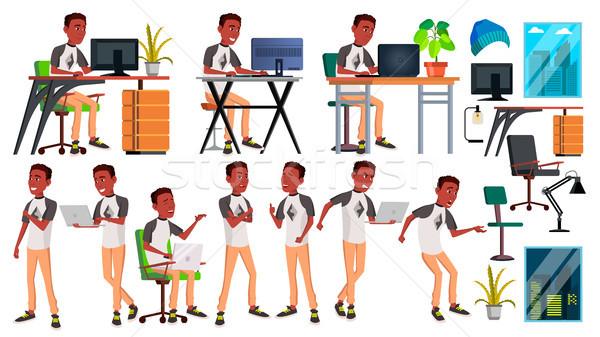Stockfoto: Kantoormedewerker · vector · zakenman · werknemer · zwarte · afrikaanse