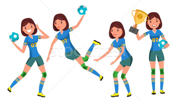 Handball Young Woman Player Vector. Girl Athlete. Throws Ball In Jump. Attack Figure. Flat Cartoon I Stock photo © pikepicture