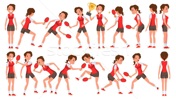 Table Tennis Female Player Vector. In Action. Sports Concept. Stylized Player. Cartoon Character Ill Stock photo © pikepicture