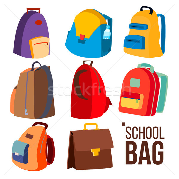 School Bag Set Vector. Different Types, View. Schoolchild, Kids Backpack Icon. Education Sign. Back  Stock photo © pikepicture