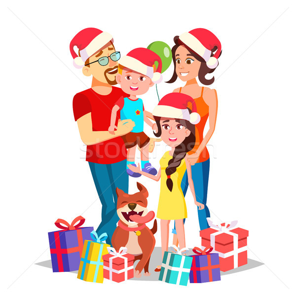 Christmas Family Portrait Vector. Parents, Children. Happy. New Year Gifts. Traditional Event. Poste Stock photo © pikepicture