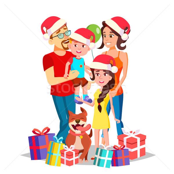 Karácsony családi portré vektor szülők gyerekek boldog új évet Stock fotó © pikepicture