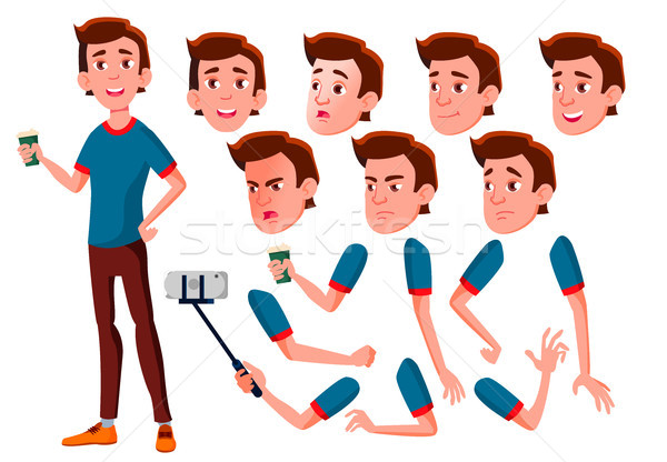 Teen Boy Vector. Teenager. Face. Children. Face Emotions, Various Gestures. Animation Creation Set.  Stock photo © pikepicture