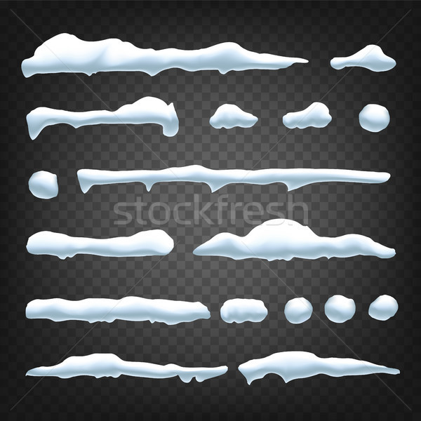Snow Drift Vector. Holidays Christmas Design. Frozen Ice. Snow Cap. Snowball. Isolated Illustration Stock photo © pikepicture