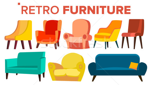 Retro Furniture Vector. Vintage 1950s, 1960s Armchair Sofa. Mid Century Interior. Isolated Cartoon I Stock photo © pikepicture