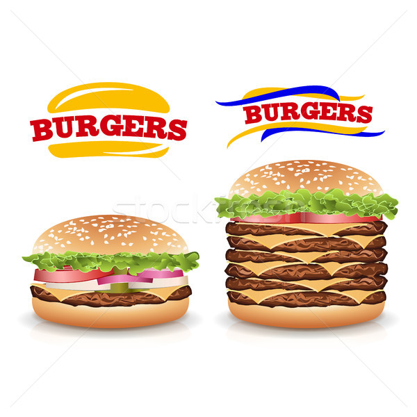 Fast-Food realistisch burger Vektor Set beliebt Stock foto © pikepicture