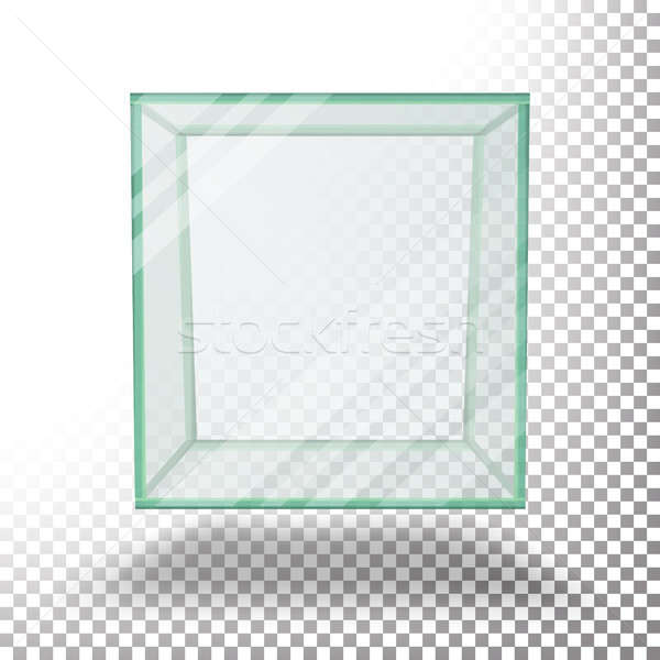 Empty Transparent Glass Box Cube Vector. Isolated On Transparent Checkered Sheet. Stock photo © pikepicture