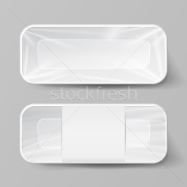 Template Blank White Plastic Food Container Set. Vector Mock Up Template Ready For Your Design. Stock photo © pikepicture