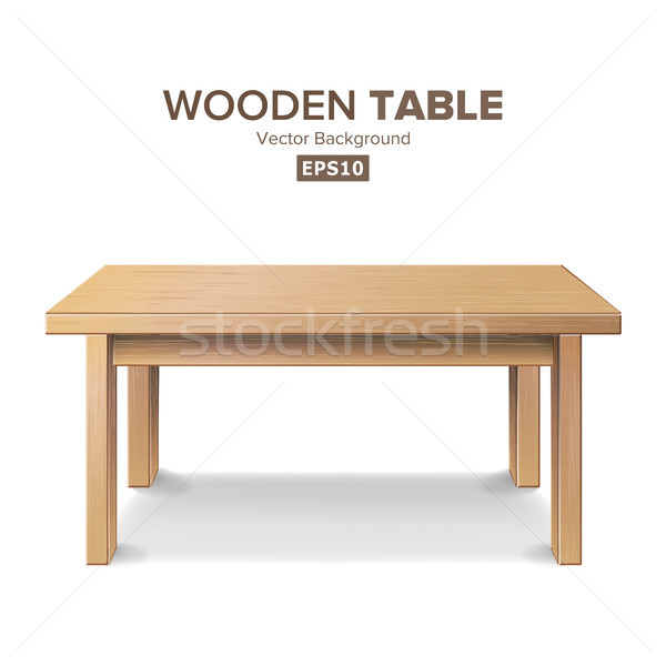 Empty Wooden Table Vector. Isolated Furniture, Stand. Clean Stand Template For Object Presentation.  Stock photo © pikepicture