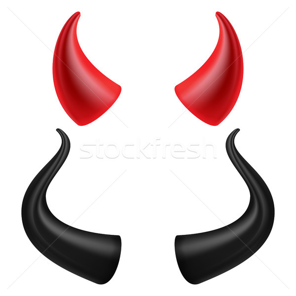 Stock photo: Devils Horns Vector. Realistic Red And Black Devil Horns Set. Isolated On White Illustration.