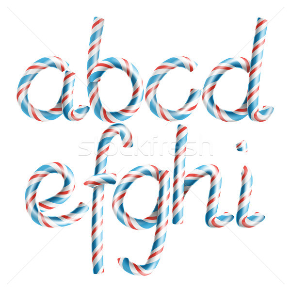 Letters A, B, C, D, E, G, G, H, I. Vector. 3D Realistic Candy Cane Alphabet Symbol In Christmas Colo Stock photo © pikepicture
