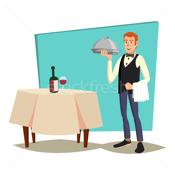 Waiter Serving Vector. Modern Waiter Reserved Table In Cafe, Restaurant. Flat Cartoon Illustration Stock photo © pikepicture