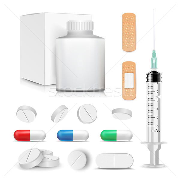 Capsule Pills And Drugs Set Vector. Pharmaceutical Drugs And Vitamin. Syringe, Patch. Antibiotic And Stock photo © pikepicture