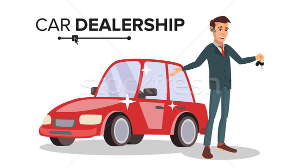 Professional Car Dealer Vector. Happy Professional Automobile Salesman. Choosing And Selling A Car.  Stock photo © pikepicture