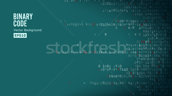 Binary Code Background Vector. Algorithm Binary, Data Code, Decryption And Encoding, Row Matrix Stock photo © pikepicture
