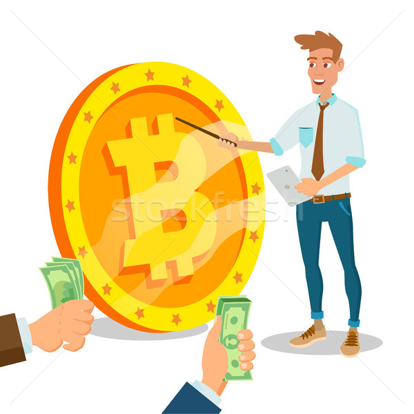 Bitcoin Innovative Start Up Vector. Monetization Project Idea Concept. Businessman With Big Bitcoin  Stock photo © pikepicture