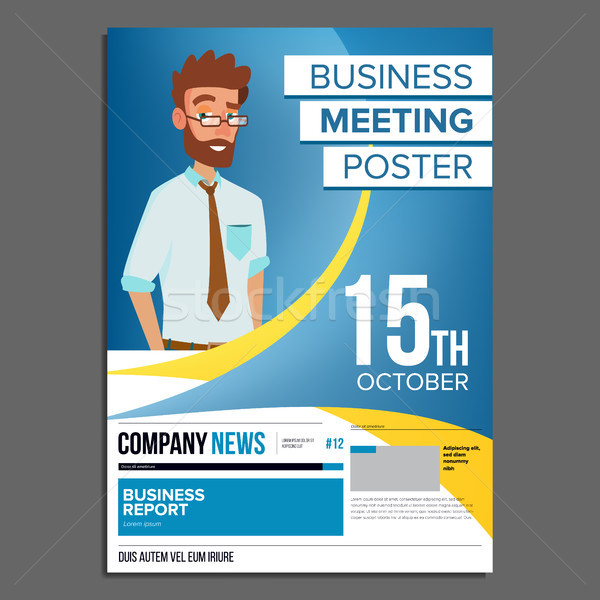 Business meeting poster vector businessman invitation for add to lightbox download comp stopboris Image collections