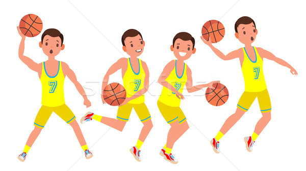 Modern Basketball Player Man Vector. Sports Concept. Running Jump With Ball. Sport Game Competition. Stock photo © pikepicture