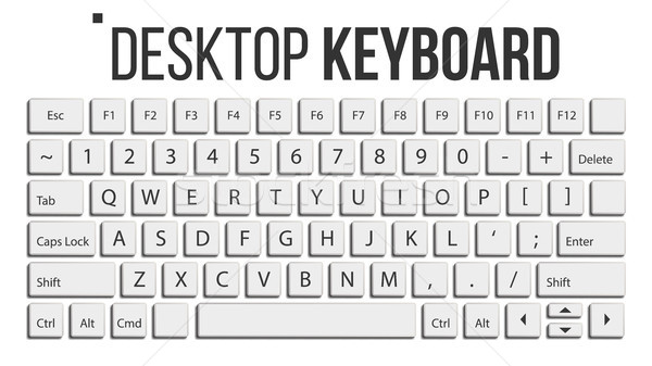 Keyboard Isolated Vector. Layout Template. Classic Keyboard. White Buttons. Computer Desktop. Electr Stock photo © pikepicture