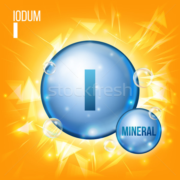 I Iodum Vector. Mineral Blue Pill Icon. Vitamin Capsule Pill Icon. Substance For Beauty, Cosmetic, H Stock photo © pikepicture