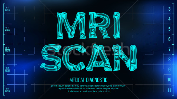 MRI Scan Banner Vector. Medical Background. Transparent Roentgen X-Ray Text With Bones. Radiology 3D Stock photo © pikepicture