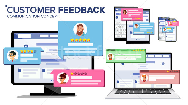 Customer Review Page On Computer Monitor, Laptop, Tablet, Mobile Phone Vector. Client Testimonials.  Stock photo © pikepicture