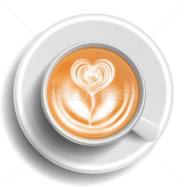 Coffee Art Cup Vector. Top View. Hot Cappuccino Coffee. Milk, Espresso. Fast Food Cup Beverage. Whit Stock photo © pikepicture