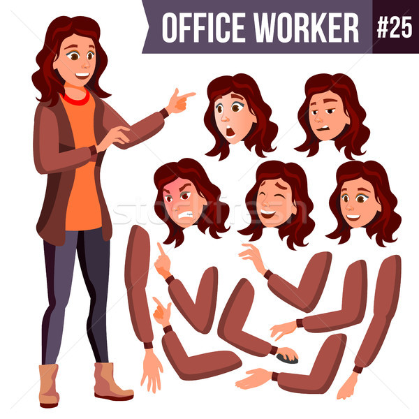 Office Worker Vector. Woman. Professional Officer, Clerk. Businessman Female. Lady Face Emotions. An Stock photo © pikepicture