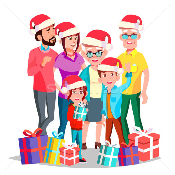 Christmas Family Vector. December Eve. Cheerful. Mom, Dad, Children, Grandparents Together. Happy. N Stock photo © pikepicture