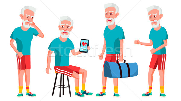 Old Man Poses Set Vector. Elderly People. Senior Person. Aged. Sport, Fitness. Cute Retiree. Activit Stock photo © pikepicture