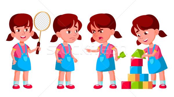Girl Kindergarten Kid Poses Set Vector. Preschooler Playing. Friendship. For Web, Poster, Booklet De Stock photo © pikepicture